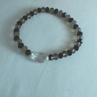 Black and Smokey Grey Crystal Bracelet with Clear Beaded Heart Charm.