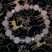 Healing Rose Quartz Bracelet with Clear Fire-polished Rondelle Czech Crystals.