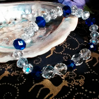 Deep Royal Blue and Clear Crystal Bracelet.