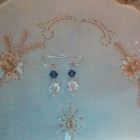 Swarovski Tanzanite & Preciosa Clear Crystal Pierced Earrings. Sterling Silver.