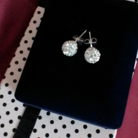 Shamballa White Crystal Stud Earrings on Sterling Silver Posts.