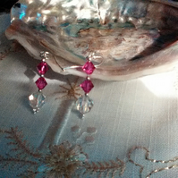 Pierced Earrings. Swarovski Fuchsia & Preciosa Clear Crystals. Sterling Silver.
