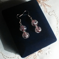 Unusual Pink-Lilac Swirl Beads & Bicone Crystals-Pierced. Sterling Silver Wires.