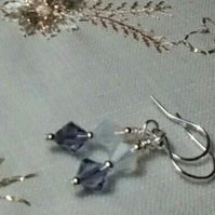 Swarovski Tanzanite and,Opal Crystal Earrings. Sterling Silver Wires
