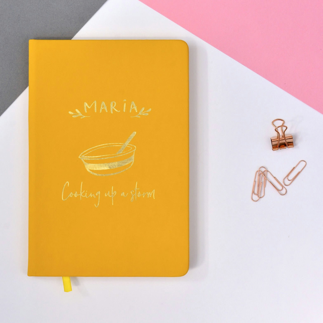 Cooking Up A Storm -  Personalised Foil Embossed A5 Lined Recipe Book - Notebook