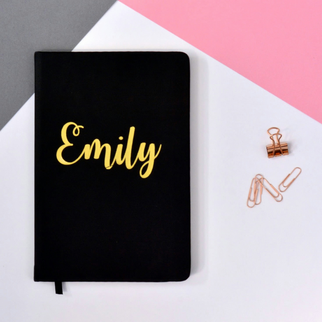 Modern Calligraphy Style Personalised A5 Lined Journal - Notebook