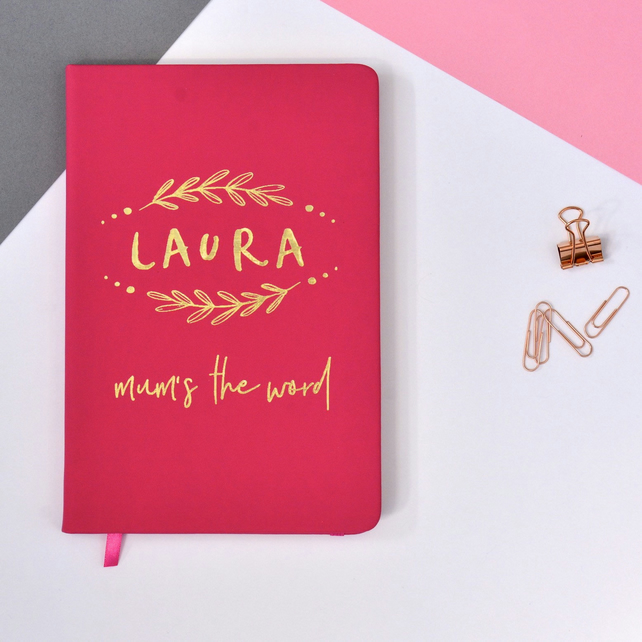 Mum's The Word Personalised A5 Lined Notebook - Customised Journal