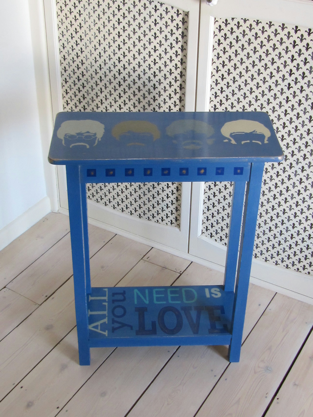 Beatles design, compact console table, hand painted Annie Sloan custom mix.