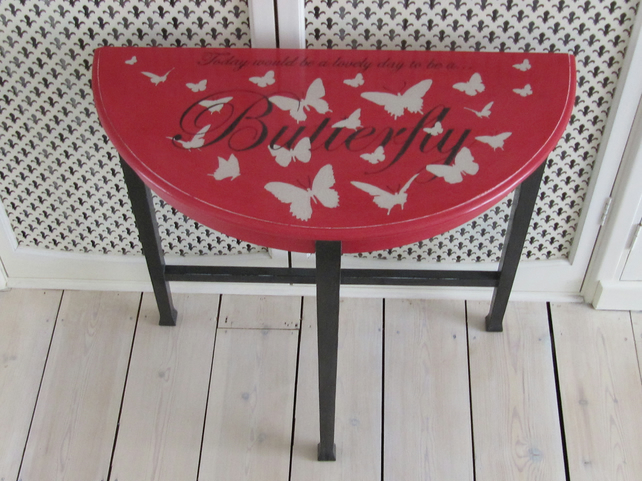 Half moon hall table with hand painted butterfly design in Annie Sloan colours.