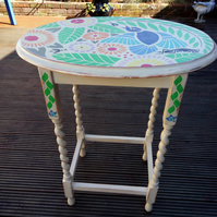 Oval side or hall table with hand painted tropical design - Annie Sloan palette.