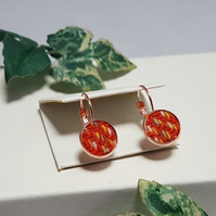 Orange 'Harris Tweed' drop earrings.