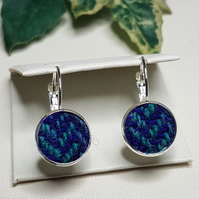 Purple and Teal HARRIS TWEED Earrings.
