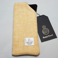 HARRIS TWEED glasses case, spectacle case. Peach.