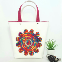 A very Unique, Unusual Handbag with Weaving and Pom Poms.
