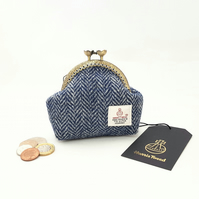 Blue and grey Herringbone HARRIS TWEED Coin purse