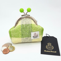 Lime Green check HARRIS TWEED Coin purse