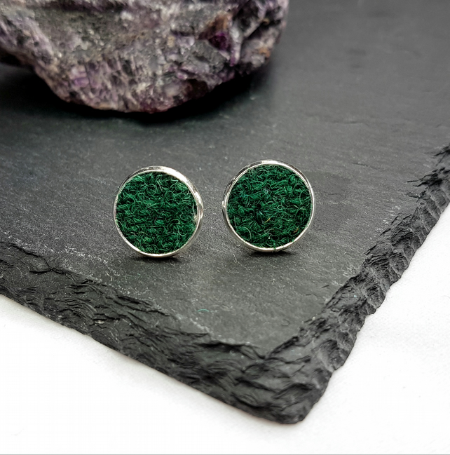 Dark Green HARRIS TWEED stud earrings.
