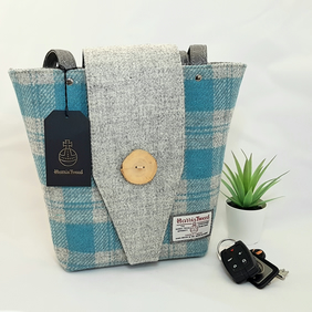 Turquoise and Grey check HARRIS TWEED Shoulder bag.