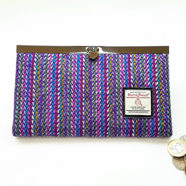 HARRIS TWEED Purse, Wallet. Purple Striped.