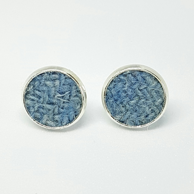Pale Blue HARRIS TWEED Silver Plated Stud Earrings.