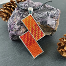 Harris Tweed Necklace. Pendant. Red, Orange and Yellow.