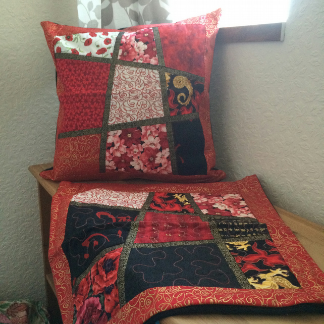 Patchwork Cushions Cover - Red & Black - Handmade Bespoke Unique