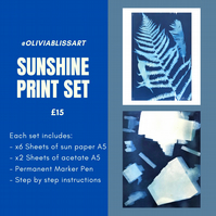 SUNSHINE PRINT SET, a pre prepared cyanotype print home set