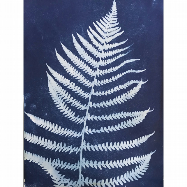 FERN II, unique nature blue print A4