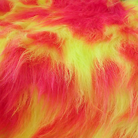 UV Cerise  Pink and UV Yellow Monster Long Pile Faux Fur Fabric