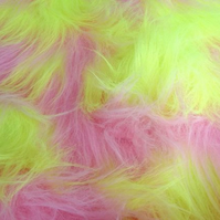 Baby Pink and UV Yellow Monster Long Pile Faux Fur Fabric