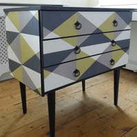 Restyled retro mid century chest of drawers