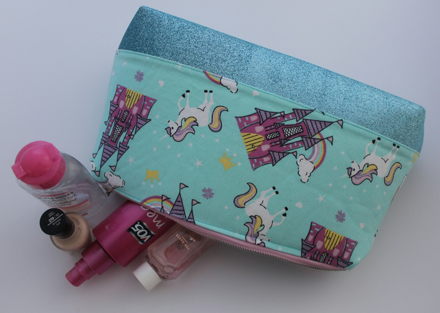 Unicorn Princess Glitter Make up Bag