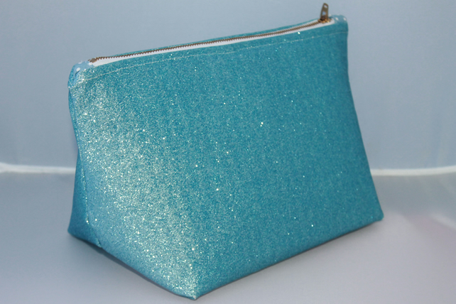 Iced Blue Glitter Make Up Bag , Travel bag