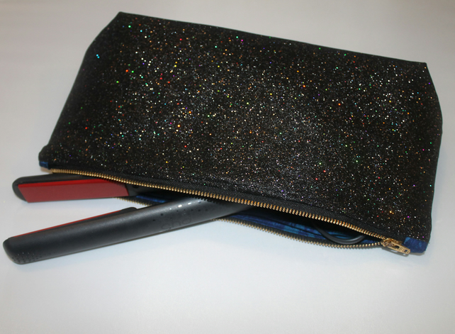 Black Sparkle Glitter Make up Bag
