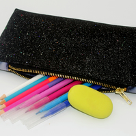 Black Rainbow Glitter Pencil Case , Sewing bag , Make up Bag