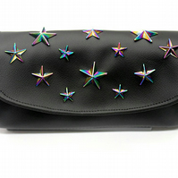 Black Oil Slick Star Purse , Rainbow star Wallet , Clutch bag , Phone Wallet , N