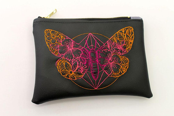 Butterfly Faux Leather Pouch , Embroidered Butterfly Summer Make up pouch