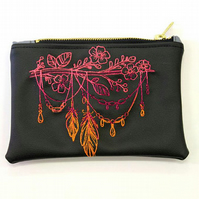 Feather branch Faux leather Embroidered zipper pouch , A5 make up bag