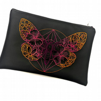 Butterfly faux leather clutchbag , makeup bag