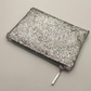 Silver sparkly glitter Make up pouch , Zipper Bag