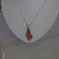 Silver-Plated Red Agate Lily Pendant Necklace