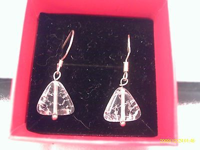 Sterling Silver Crackled Quartz Triangular Earrings