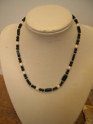 Gold plated Black and White Agate Necklace