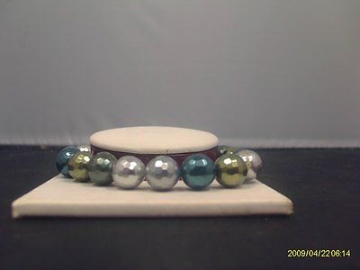 Faceted Green and Silver Shell Pearl Bracelet
