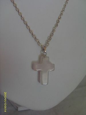 Silver-plated  Rose Quartz Cross Pendant Necklace