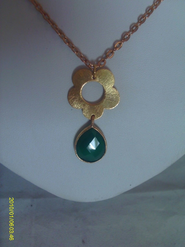 Gold Plated Green Onyx Necklace