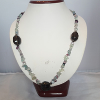 Fluorite chip and faceted Smokey Quartz necklace