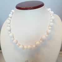 Silver-Plated Ladder Weave White Jade Necklace
