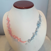 Pink and blue wire mesh necklace