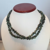 Silver-Plated Double strand Emerald Chip Necklace